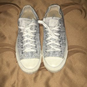 grey glittery converse worn but in good condition